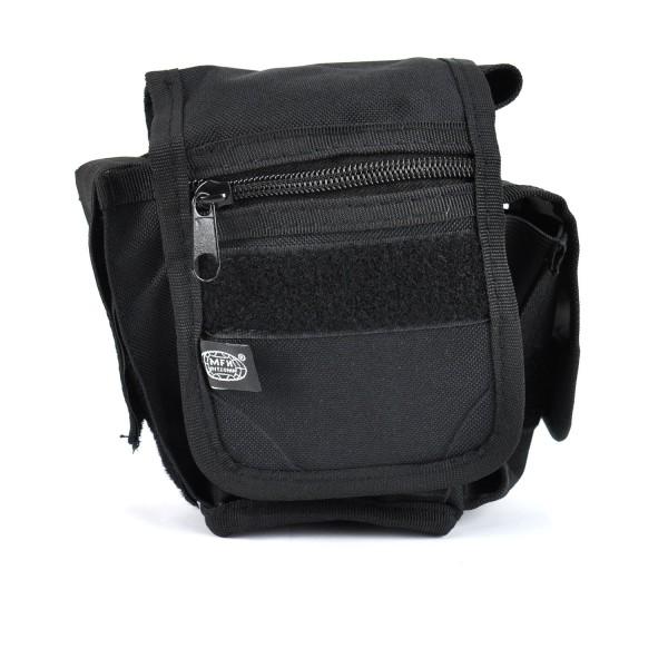 Gürteltasche mit 3 Taschen, schwarz Nylon