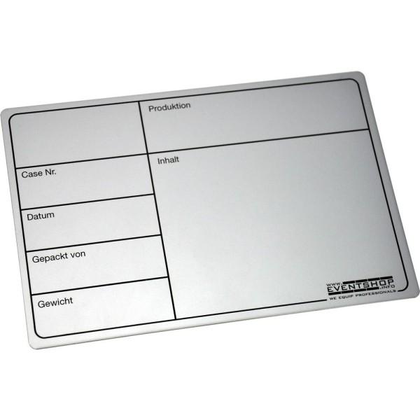 Aluminium Case-Label 18cm x 12cm, selbstklebend
